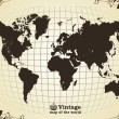 Vintage old map of the world — ストックベクタ