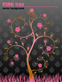 Floral tree background black pink vintage — Stock Vector
