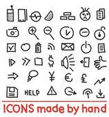 Ikony wykonane ręcznie — Wektor stockowy