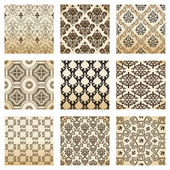 Set seamless wallpaper old flower decorative vintage — Vecteur