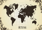 Vintage old map of the world — Stock Vector