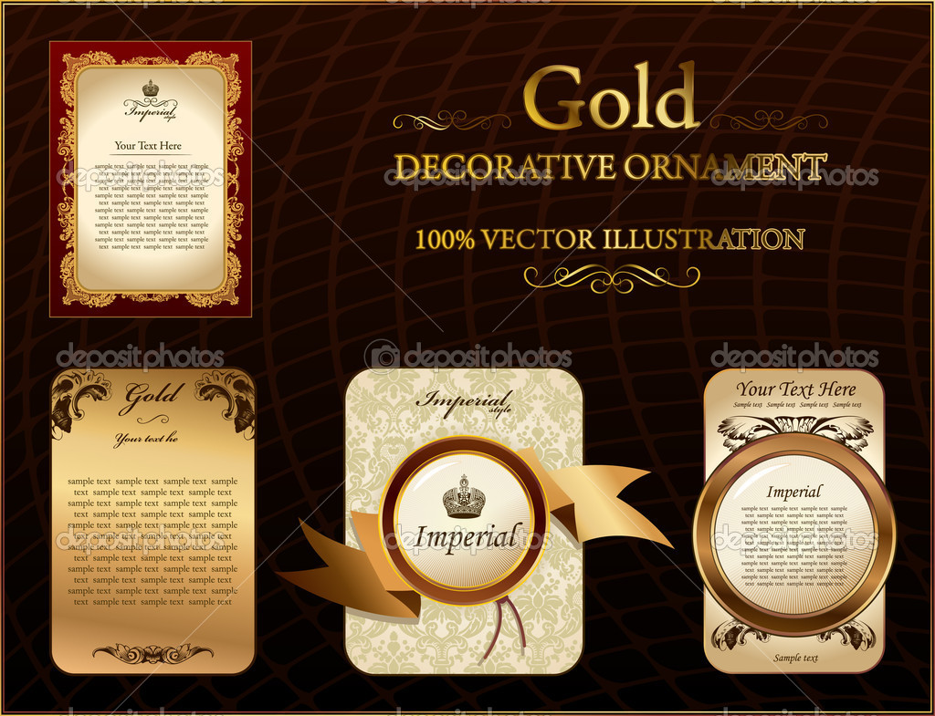 Gold vitnage label decorative ornament. Vector illustration — Stock Vector #3978419