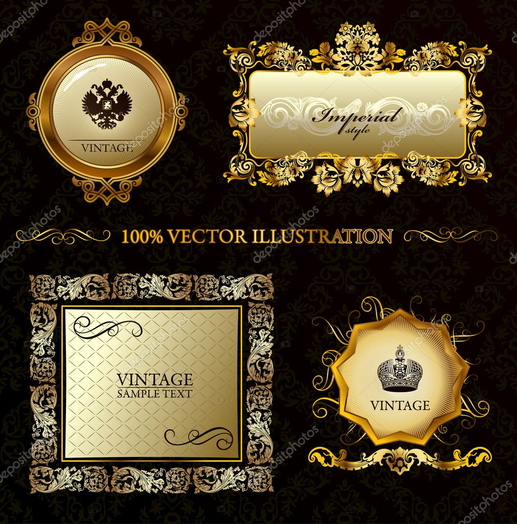 Glamour vintage gold frame decorative background. Vector illustration — Stock Vector #3978439