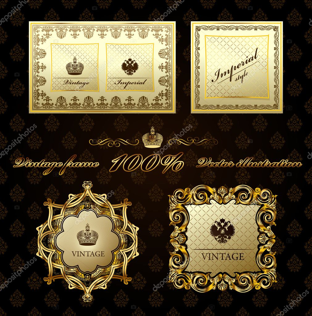 Glamour vintage gold frame decorative. Vector illustration — Stock Vector #3978449
