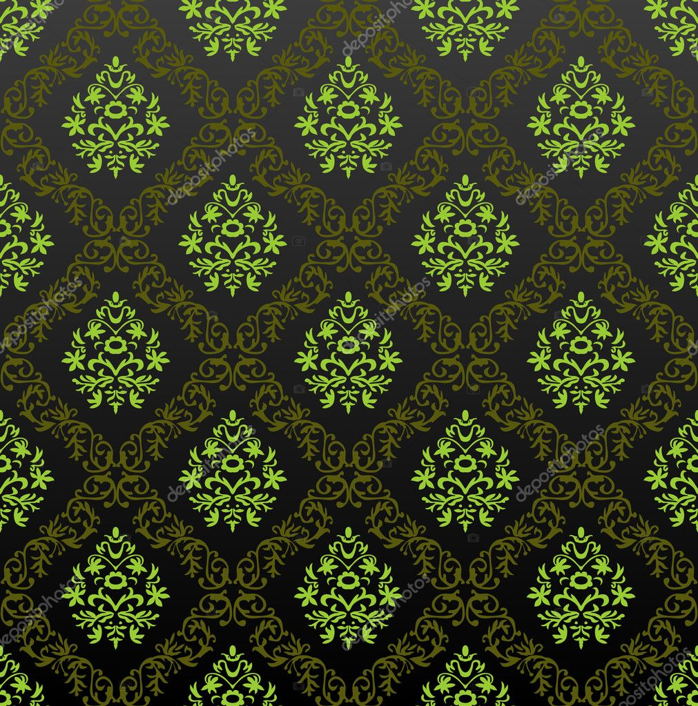 Seamless Wallpaper floral green. Vector illustration  Stock Vector #3978537