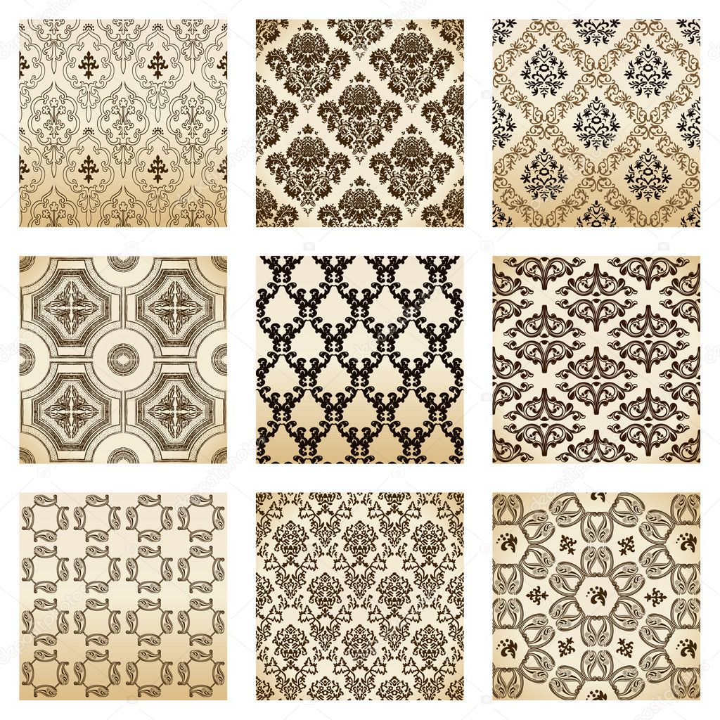 Set seamless wallpaper old flower decorative vintage. Vector illustration  Stock vektor #3978558