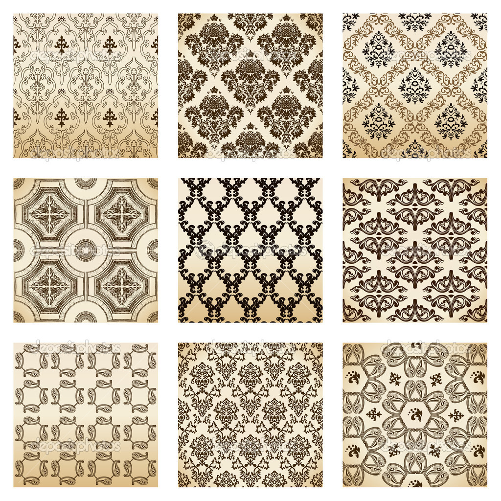 Set seamless wallpaper old flower decorative vintage. Vector illustration — Imagen vectorial #3978558