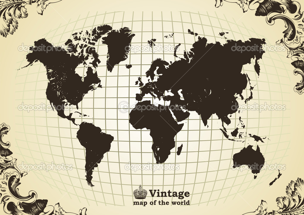 Vintage old map of the world frame. Vector illustration — Stock Vector #3978603
