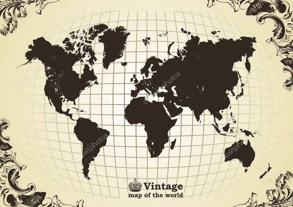 vintage ancienne carte du monde image vectorielle 3978603. Black Bedroom Furniture Sets. Home Design Ideas