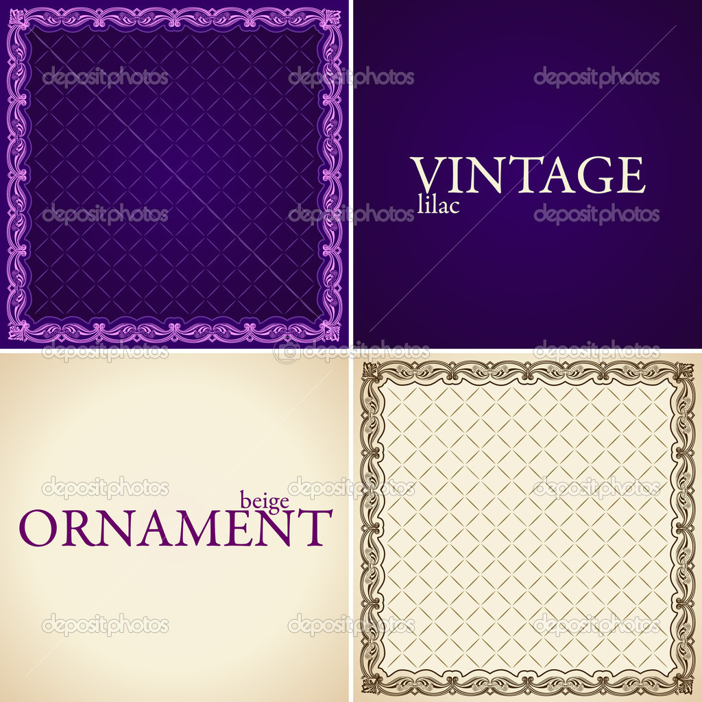 Vintage ornament set frame flower decorative. Vector illustration — Stock Vector #3978612