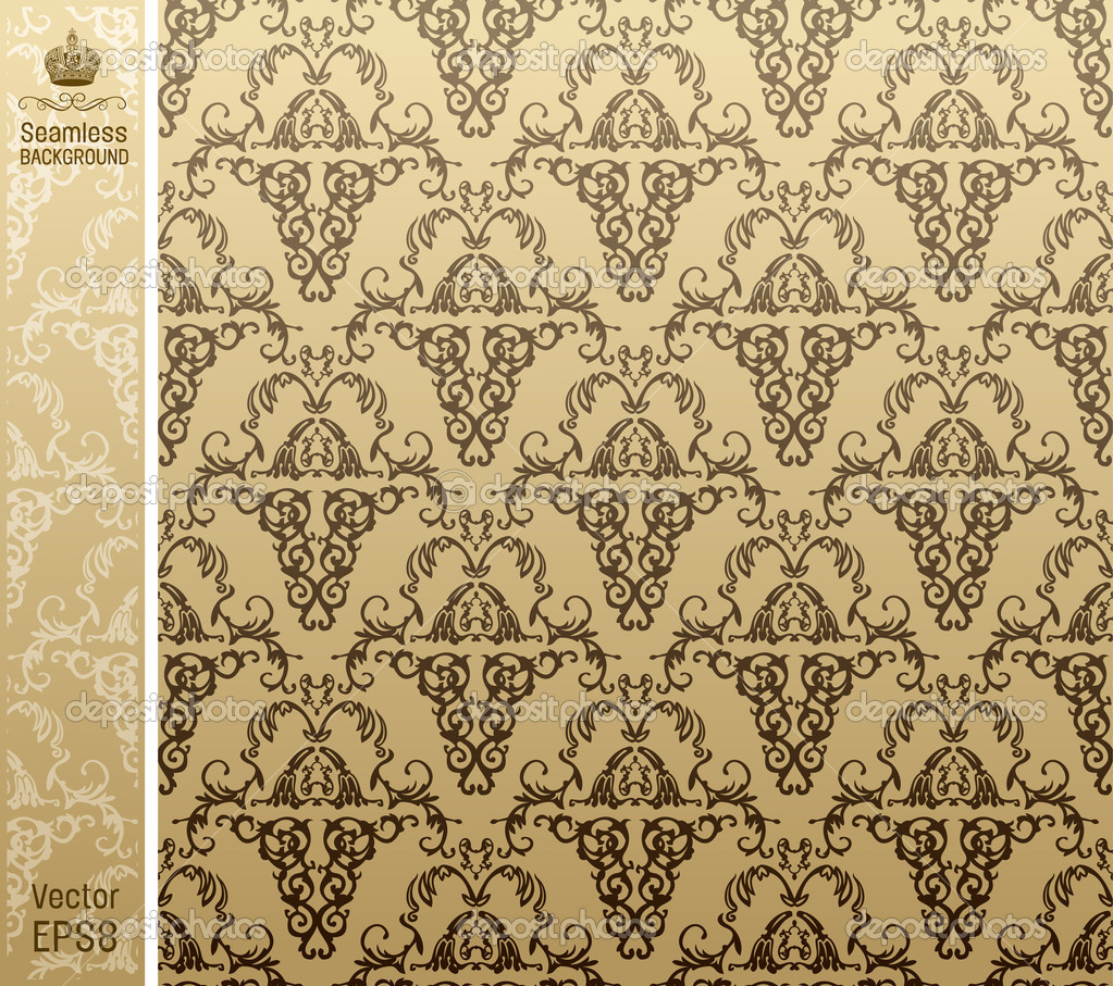 Seamless royal background floral Pattern. Vector illustration  Imagens vectoriais em stock #3988317
