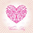 Abstract floral heart happy valentine day — 图库矢量图片