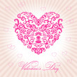 Abstract floral heart happy valentine day — Vector de stock #4911370