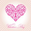 Stock Vector: Abstract floral heart valentine day pink