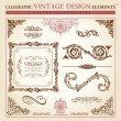 Calligraphic elements vintage ornament set. Vector frame — ベクター素材ストック