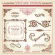 Calligraphic elements vintage ornament set. Vector frame - Stok Vektr