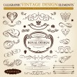 Calligraphic elements vintage ornament set. Vector frame ornamen — Stockvectorbeeld