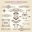 Royalty-Free Stock Векторное изображение: Calligraphic elements vintage set. Hand retro written feather