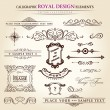 Calligraphic elements vintage set. Hand retro written feather — Stock Vector
