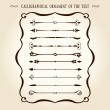 Calligraphical ornament elements vintage text - Stock Vector