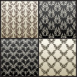 Seamless vintage vector background wallpaper black - Stock Vector