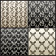 ストックベクタ: Seamless vintage vector background wallpaper black