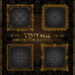 Stok Vektör: Vector vintage Gold frames ornament label
