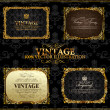 Vector vintage Gold frames decor label - Stok Vektör