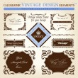 Vintage frame ornament set. Vector element decor — Stockvectorbeeld