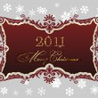 Christmas red frame 2011 snowflakes decor — Stock Vector