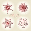 Christmas snowflakes vector vintage decor red — Stock Vector #4911452