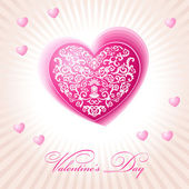 Abstract floral heart happy valentine day pink — Stock Vector