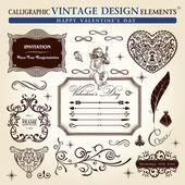 Calligraphic elements vintage ornament set. Happy valentine day — Stok Vektör
