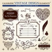 Set di elementi calligrafici ornamento d'epoca. felice san valentino — Vettoriale Stock