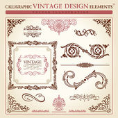 Calligraphic elements vintage ornament set. Vector frame — Vettoriale Stock