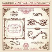 Elementos caligráficos vintage ornamento conjunto. marco de vector — Vector de stock