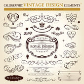 Calligraphic elements vintage ornament set. Vector frame ornamen — Vettoriale Stock