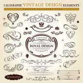 Set di elementi calligrafici ornamento d'epoca. ornamen telaio vector — Vettoriale Stock