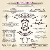 Jogo do caligráfico elementos vintage. retro pena escrita de mão — Vetorial Stock