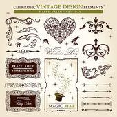 Set di elementi calligrafici vettoriale vintage. felice san valentino — Vettoriale Stock