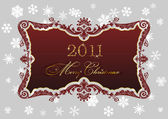 Christmas red frame 2011 snowflakes decor — Stock Vector