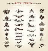 Blume vintage royal-design-element — Stockvektor