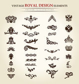 Flower vintage royal design element — ストックベクタ