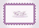 Vector vintage frame baroque decor lilac ornament — Stock Vector