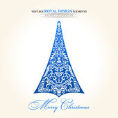 Vintage christmas tree blue — Vecteur