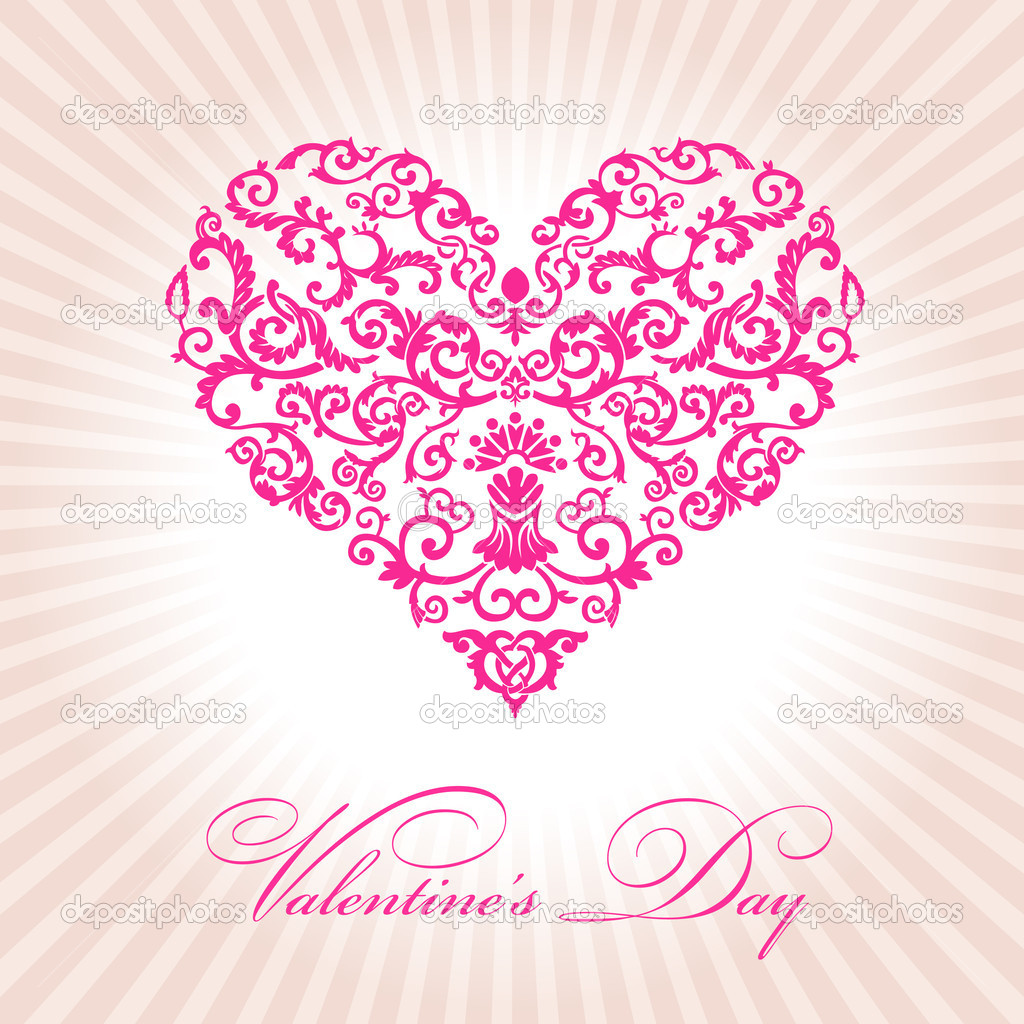 Abstract floral heart valentine day pink vector illustration — Stock Vector #4911372
