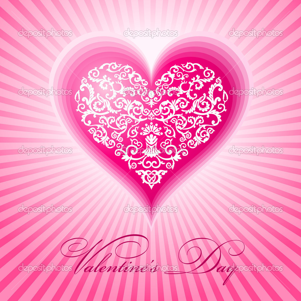 Abstract floral heart valentine day vector illustration — Stock Vector #4911374