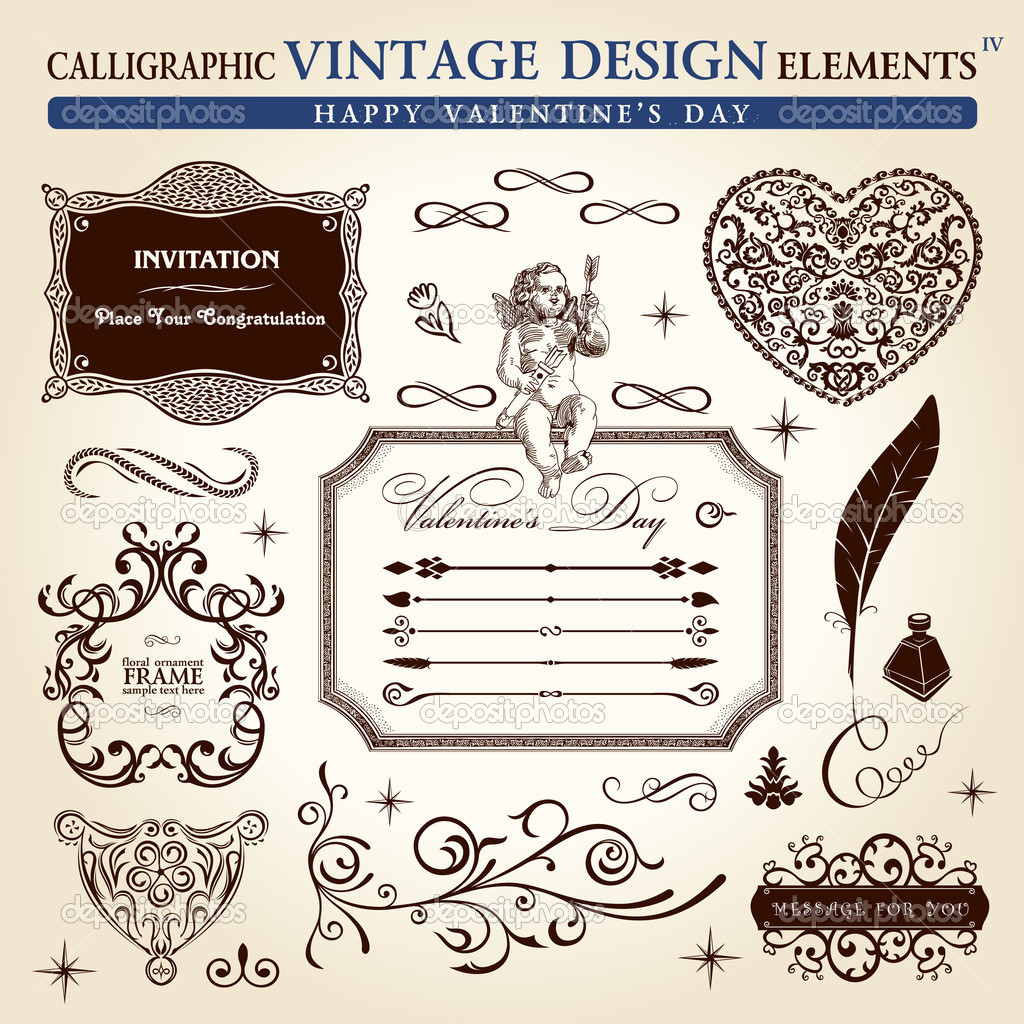 Calligraphic elements vintage ornament set. Happy valentine day vector — Stock Vector #4911383