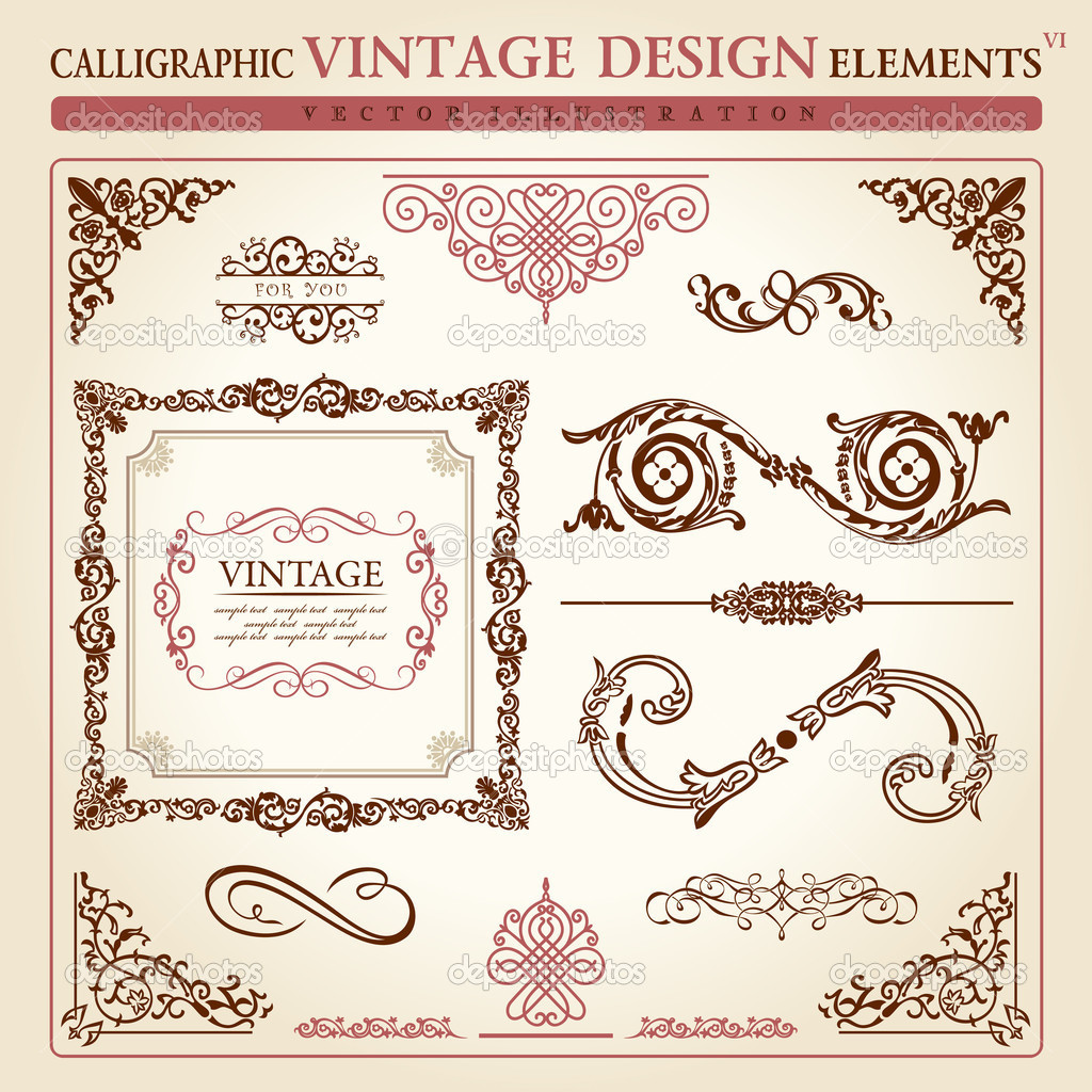 Calligraphic elements vintage ornament set. Vector frame decor  Vettoriali Stock  #4911385