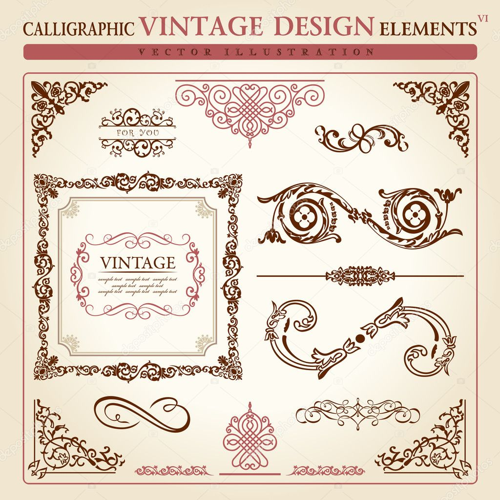 Calligraphic elements vintage ornament set. Vector frame decor — ベクター素材ストック #4911385